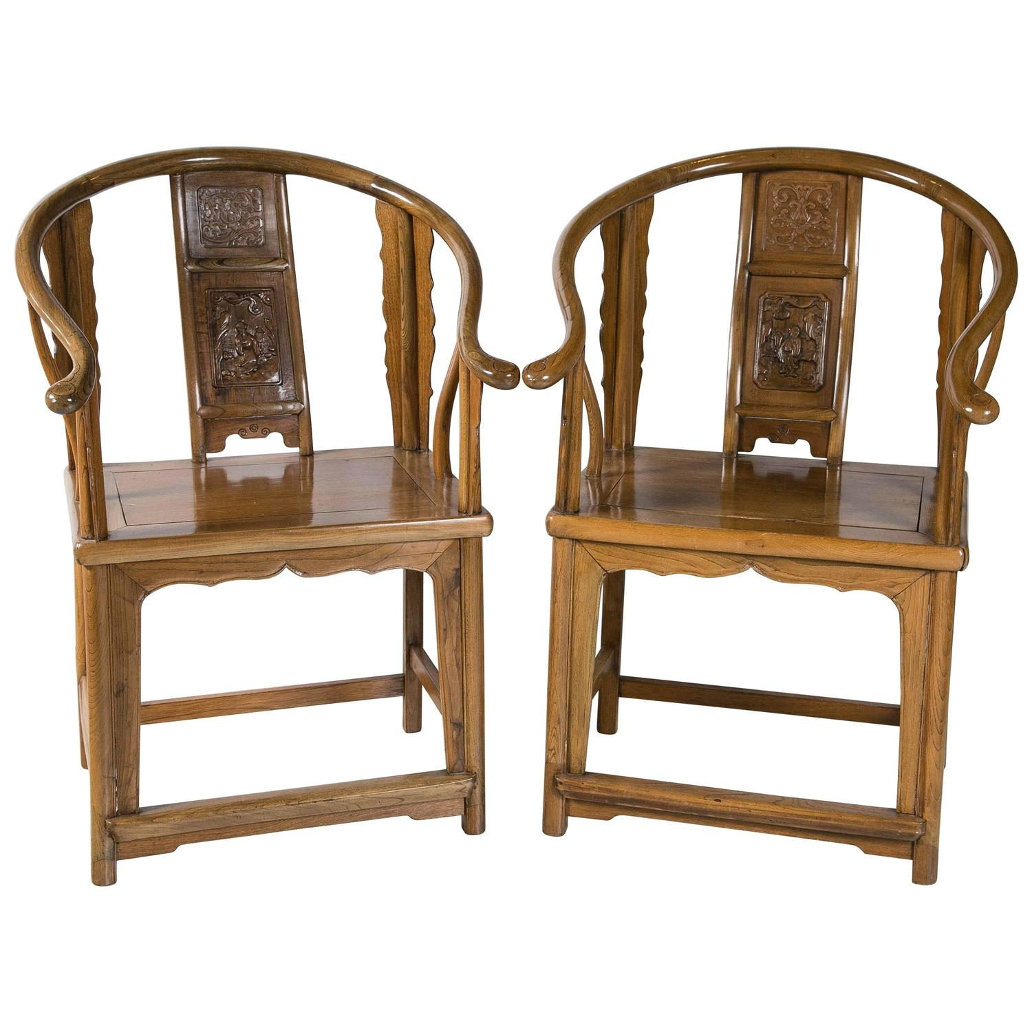 Chinese Chair Antique Chinese Horseshoe Chairs 19th Century For Sale At