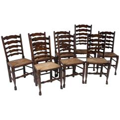 Antique Ladder Back Chairs With Rush Seats Folding Teak Arms Set Of Eight Oak Dining All