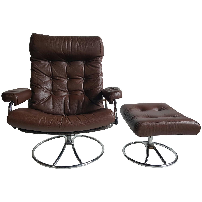 stressless chair similar portable walking singapore brown leather ekornes lounge with ottoman 1960