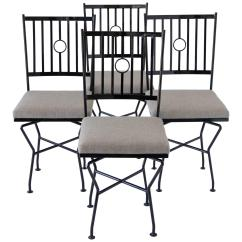 Outdoor Dining Chairs Sale Chair Cover Hire East Sussex Set Of Four Swivel Wrought Iron Patio For
