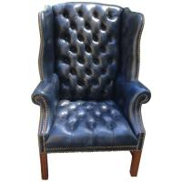 Fabulous Navy Blue Leather Tufted Wing Chair at 1stdibs