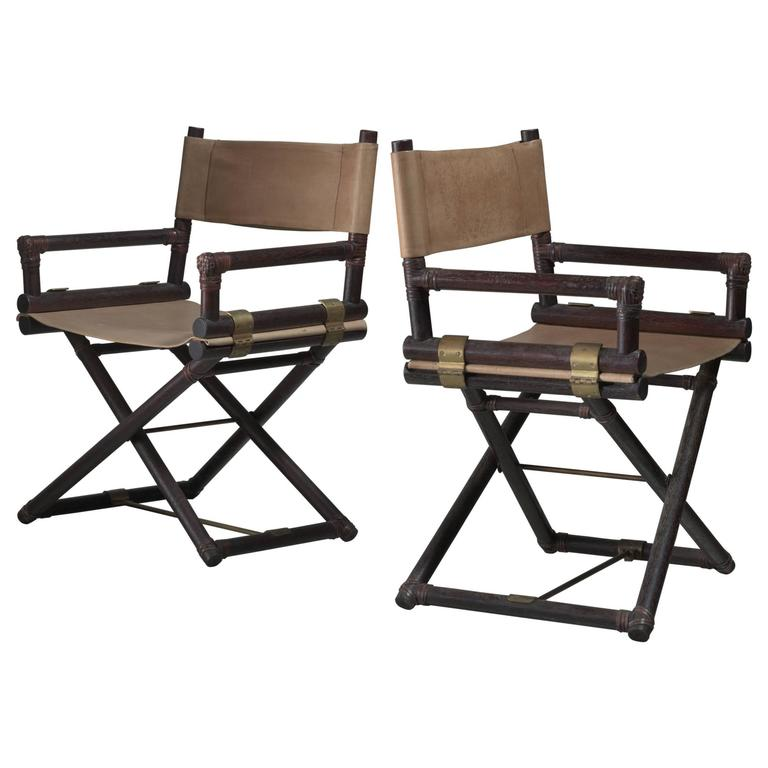 striped directors chairs evenflo high chair cover mcguire pair of wood leather and brass director s usa 1950s for sale