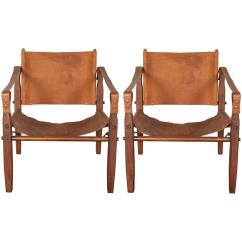 Leather Sling Chairs Chair Slipcovers Australia Pair Of Gold Medal Co Safari At 1stdibs For Sale