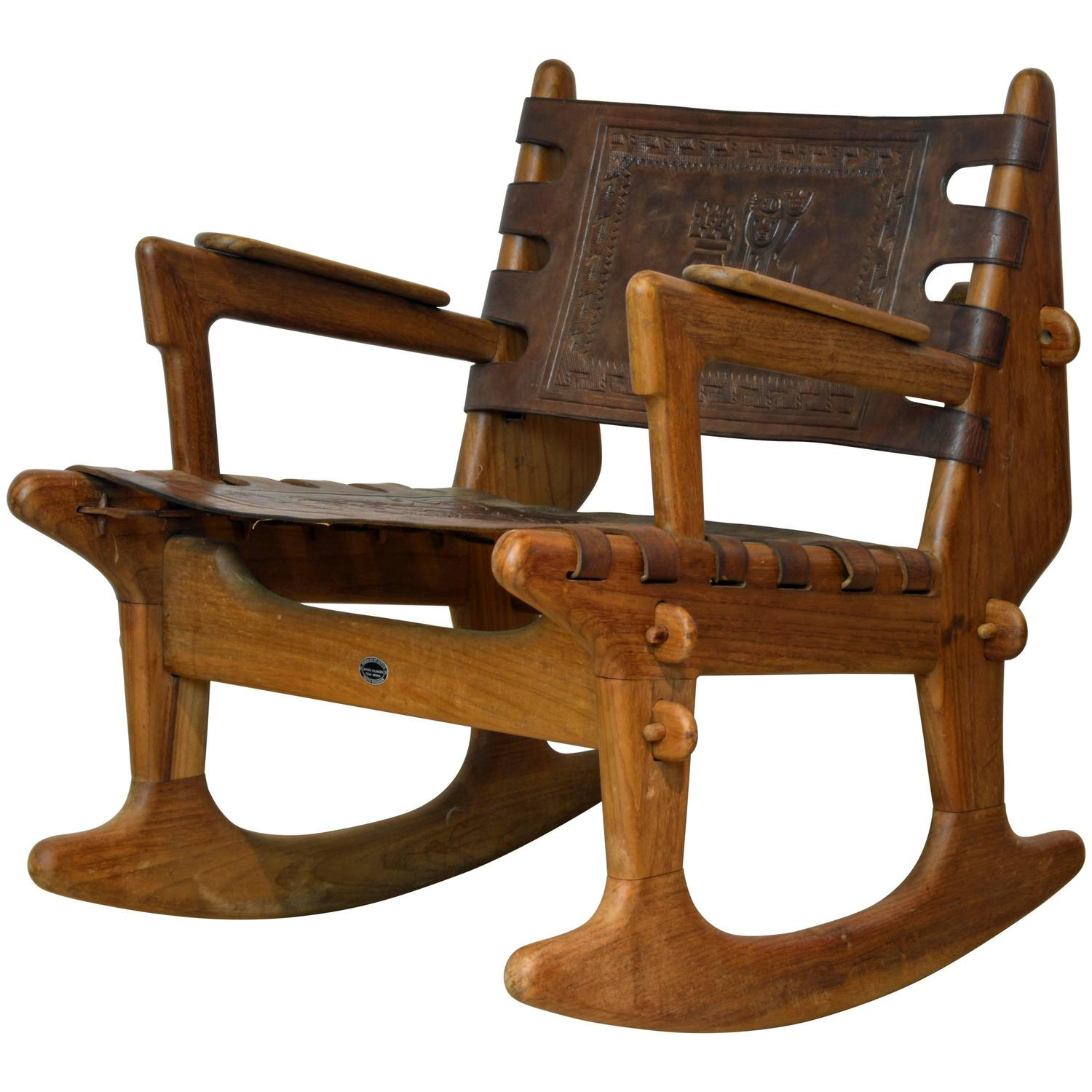 rocking chair fine woodworking harwick extra tall ergonomic drafting mid century modern ecuadorian wood and leather