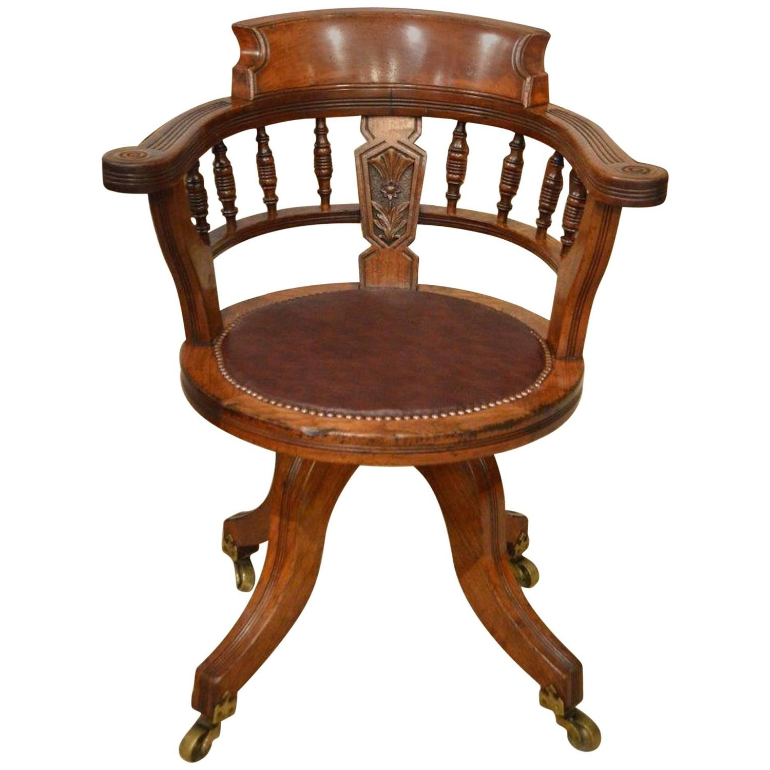 revolving desk chair acapulco uk walnut victorian period for sale at