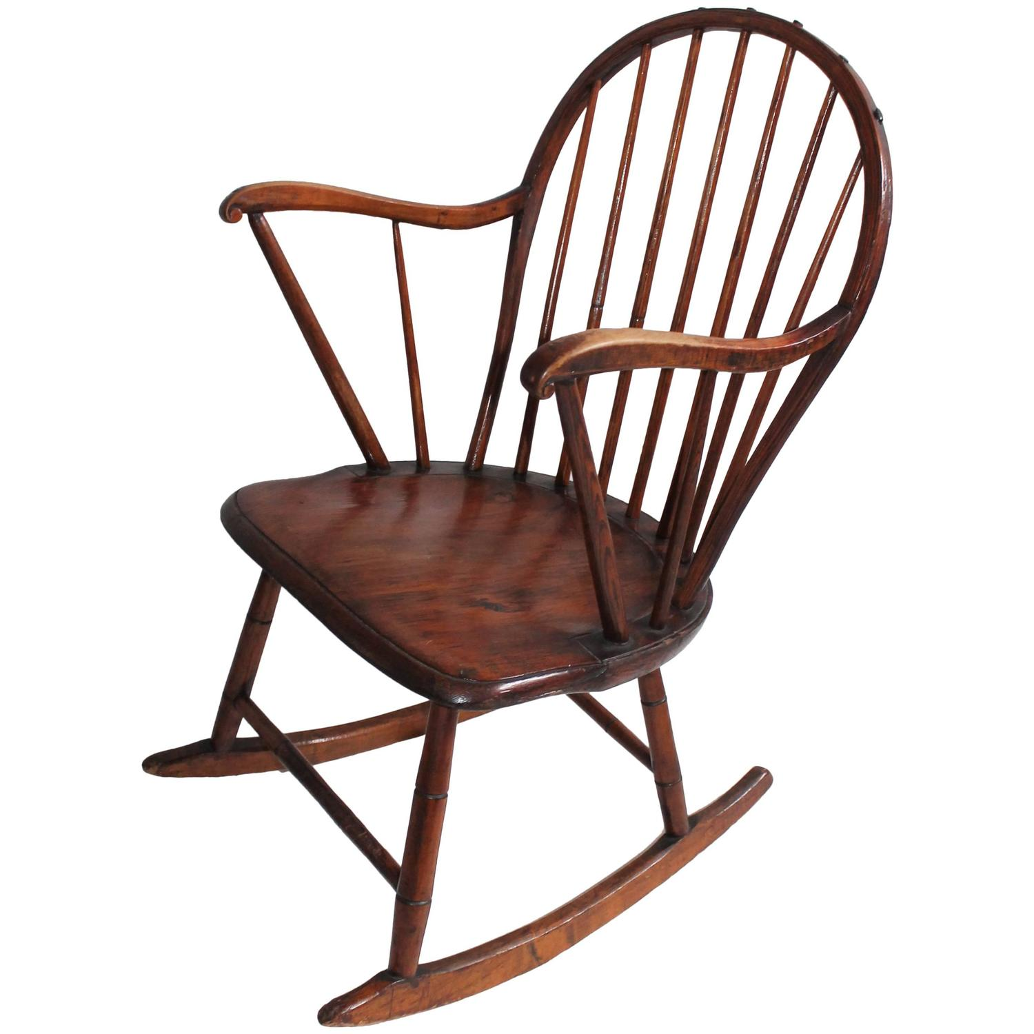 windsor chair with arms wood long 18th century extended arm rocking for sale