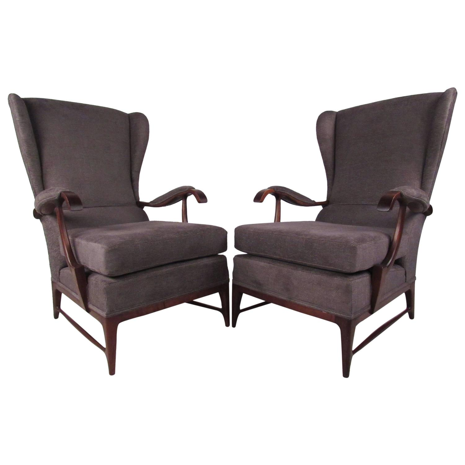 modern wingback chairs for sale revolving chair below 1000 pair of mid century paolo buffa lounge
