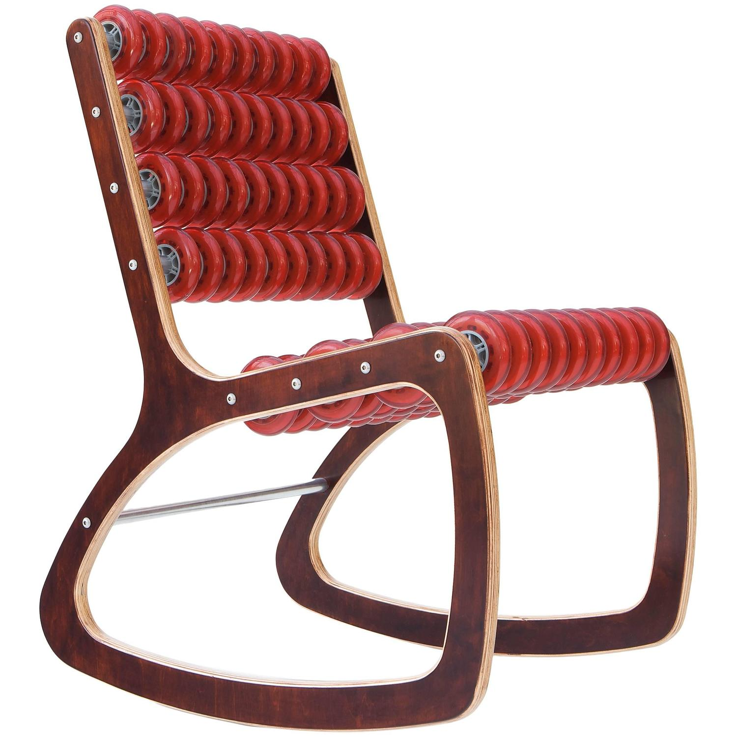 Red Rocking Chair Razor Rocker Rocking Chair In Walnut And Translucent Red