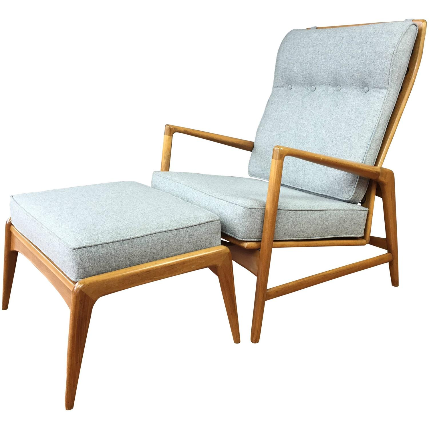 Ib Kofod Larsen Reclining Lounge Chair And Ottoman For Selig
