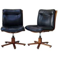 Pair of Scandinavian Leather and Plywood Desk Chairs ...