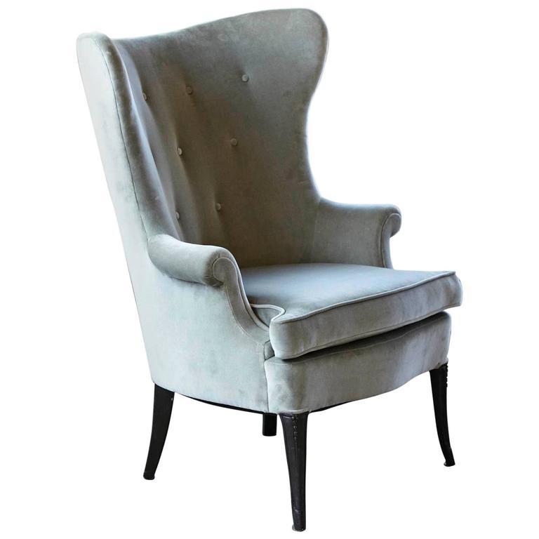 Grey Velvet Wingback Armchair For Sale at 1stdibs