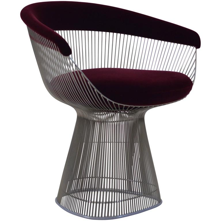 Burgundy Velvet Warren Platner Wire Chair for Knoll at 1stdibs