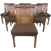 Set of Six Mid-Century Modern Cane Back Dining Chairs by ...