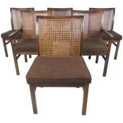 Antique Cane Dining Room Chairs Badger Basket High Chair Set Of Six Mid Century Modern Back By