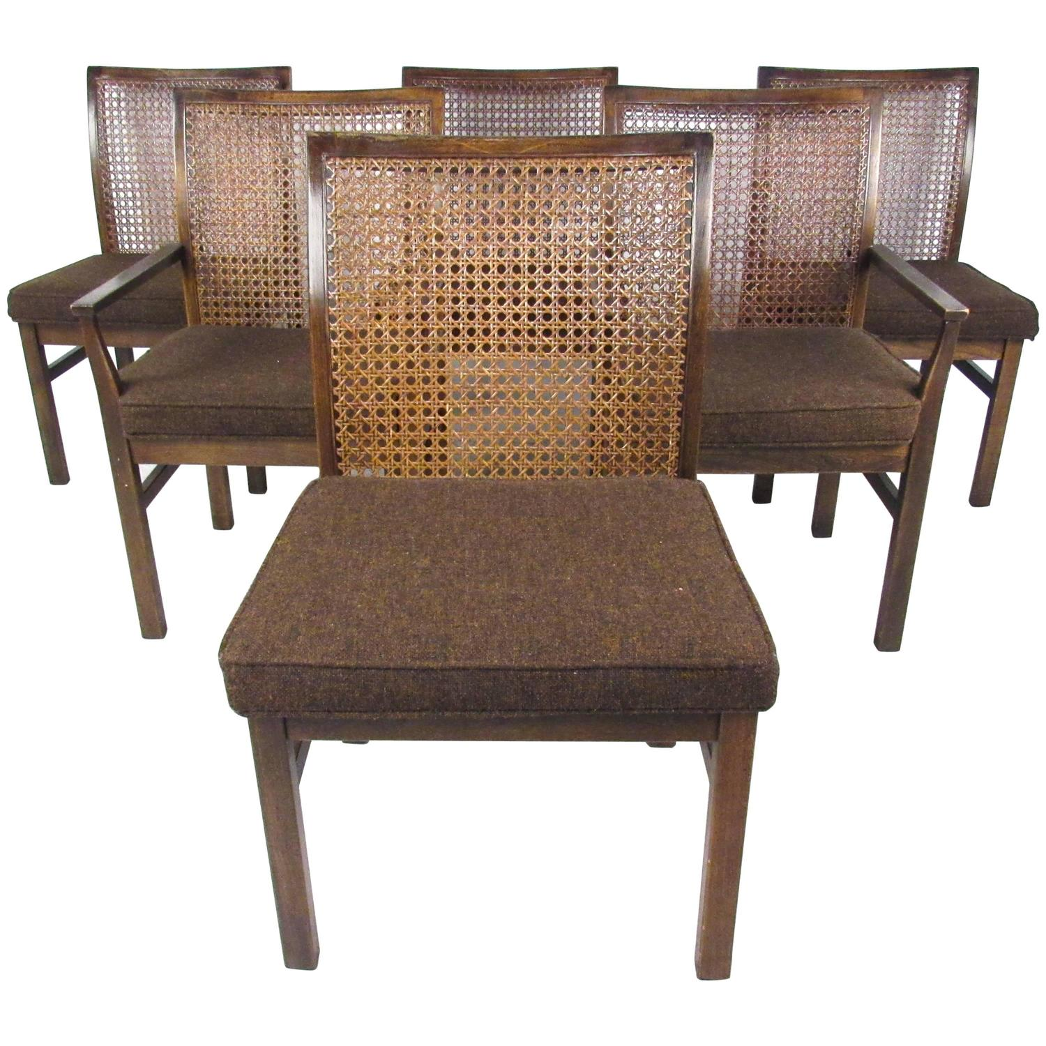 Cane Dining Chairs Set Of Six Mid Century Modern Cane Back Dining Chairs By