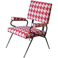 Italian Houndstooth Fabric Lounge Chair, 1950s at 1stdibs