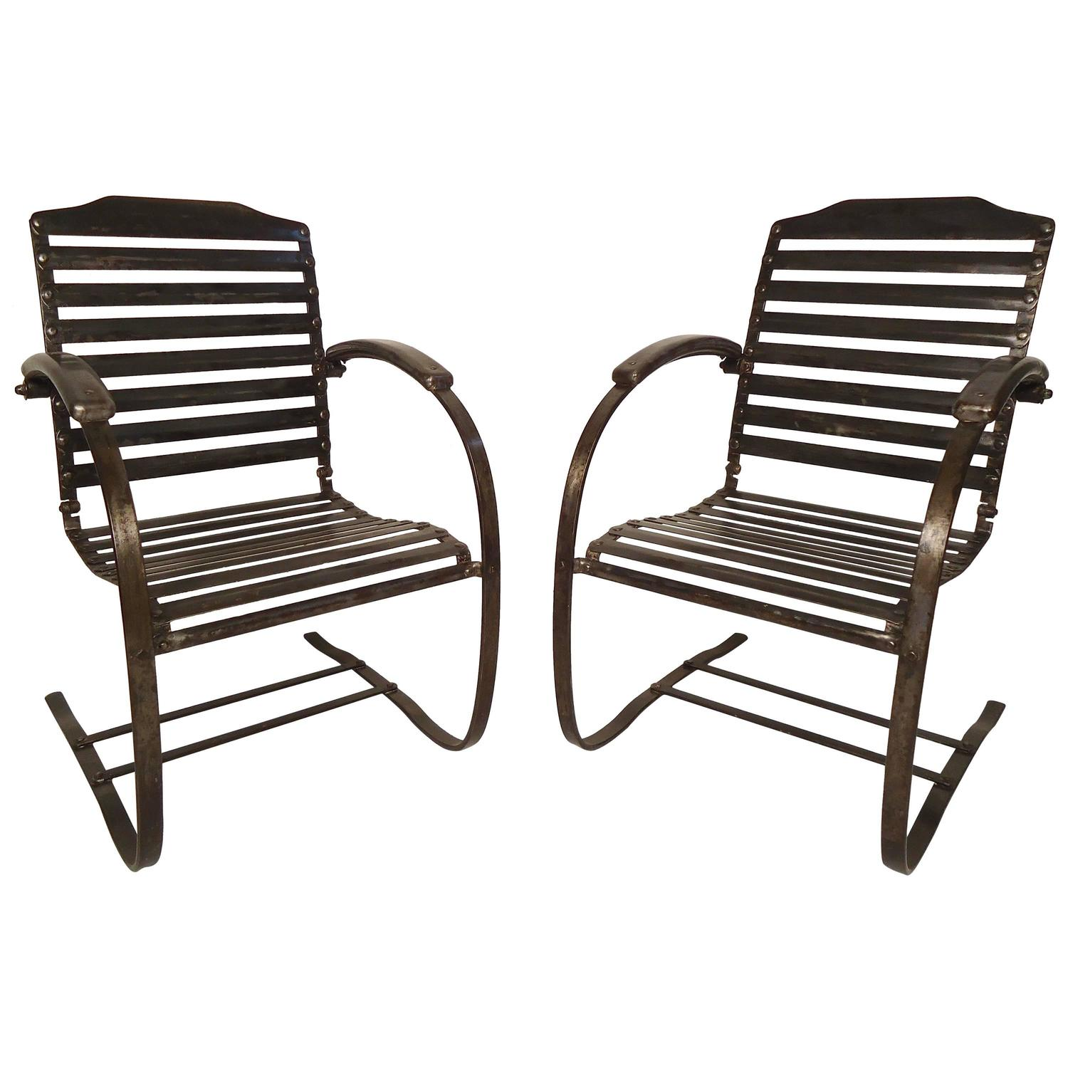 antique metal chairs for sale white kitchen pair of vintage spring at 1stdibs
