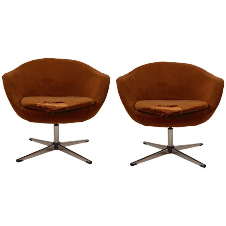 swivel pod chair cover rentals norfolk va pair of swedish overman chairs need reupholstery for sale