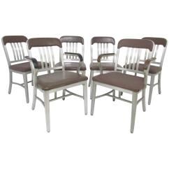 Navy Dining Room Chairs Office Bungee Chair Set Of Six Goodform Industrial Aluminum Quotnavy Quot