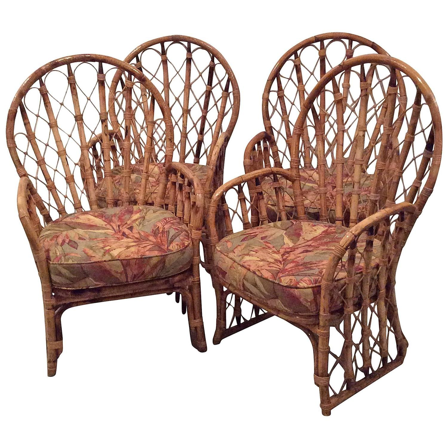 antique dining chairs value what are wwe made of rattan wicker arm vintage set 4 faux bamboo palm beach patio at 1stdibs