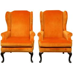 Queen Anne Wing Chair Patio Furniture Table And Chairs Pair Of Style Orange Crush Velvet At 1stdibs