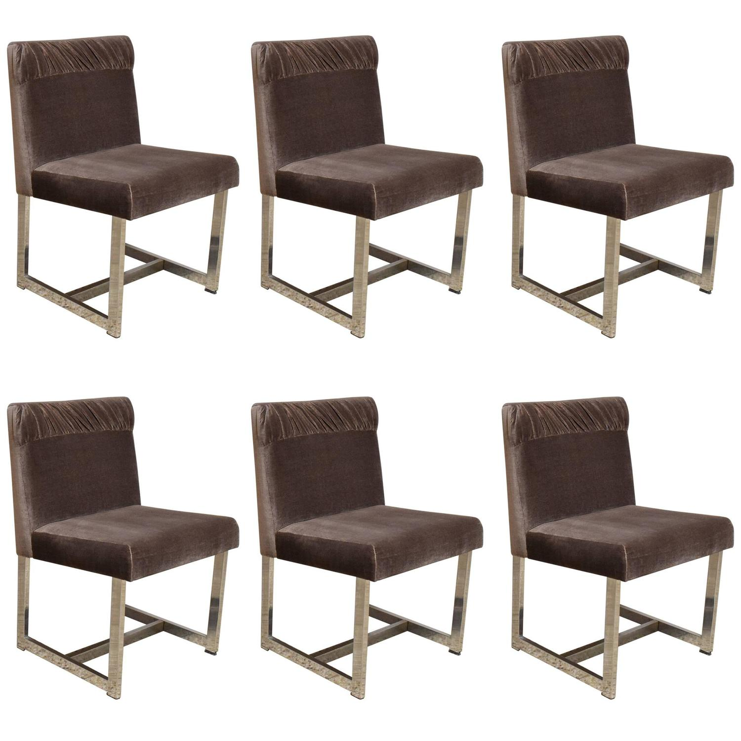 milo baughman dining chairs attachable high chair set of six style by comfort