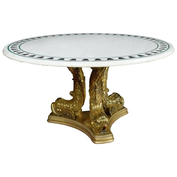 Giltwood Dolphin Base Center Table 1stdibs