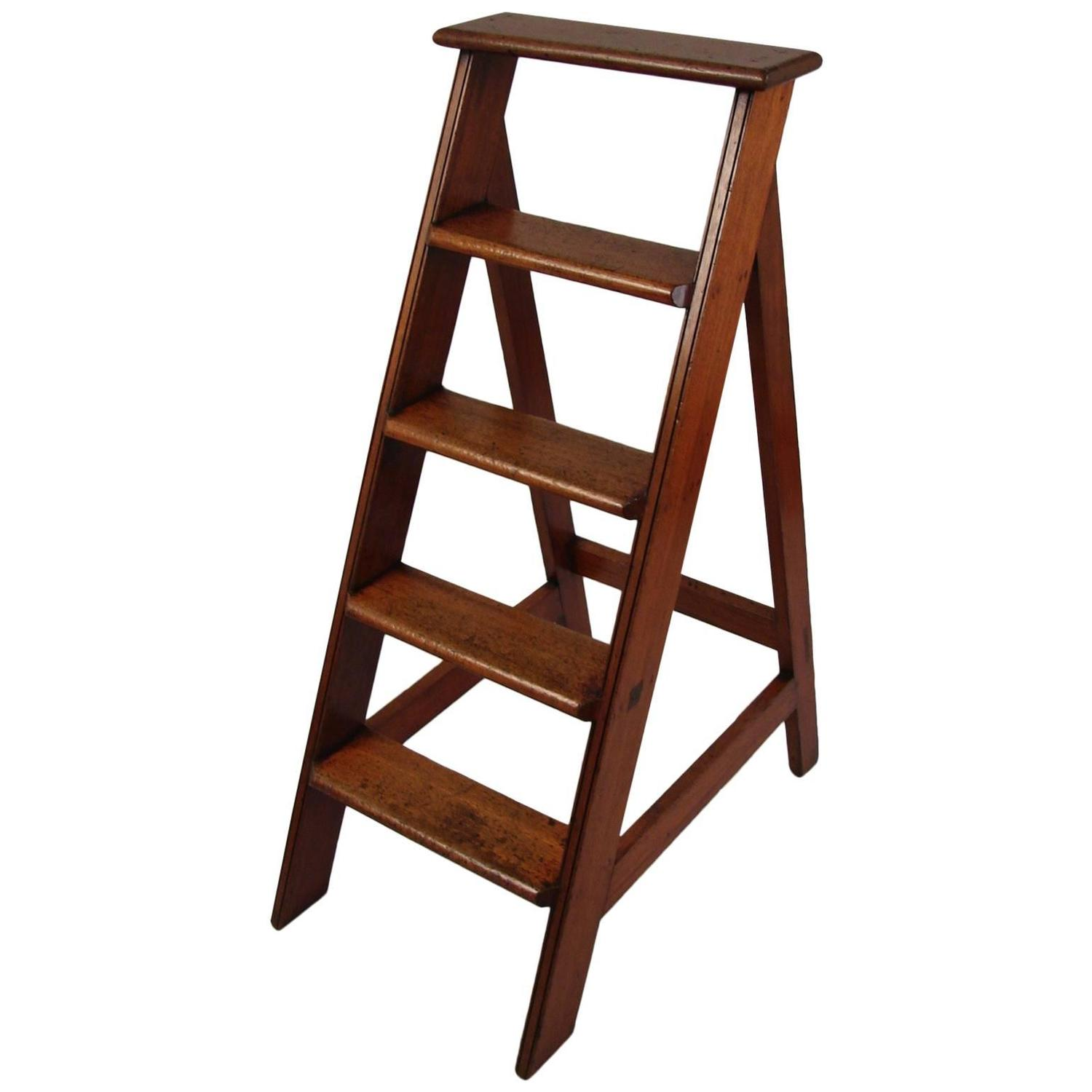 Library Ladder Chair English Mahogany Library Ladder At 1stdibs