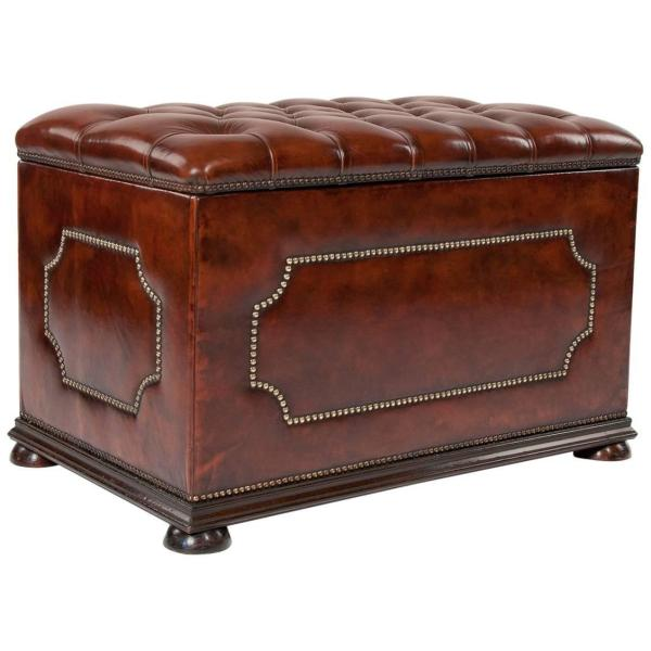 Antique Leather Upholstered Ottoman