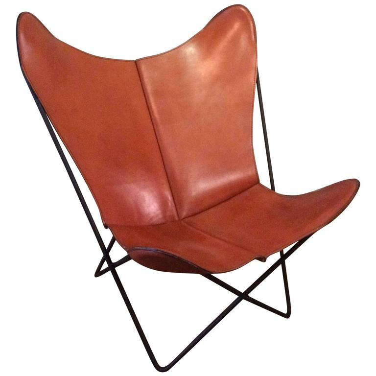 Leather Butterfly Chair by Jorge FerrariHardoy for Knoll