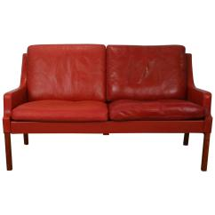 Red Leather Two Seater Sofa Modular Office Furniture Vintage Danish Seat At 1stdibs