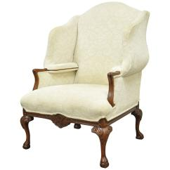 Large Wingback Chair Spa Pedicure Chairs Parts 20th Century Oversized Carved Mahogany Chippendale Style