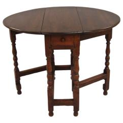 Gateleg Table With Chairs Folding Padded Seat And Back Small William Mary Oak Drawer For