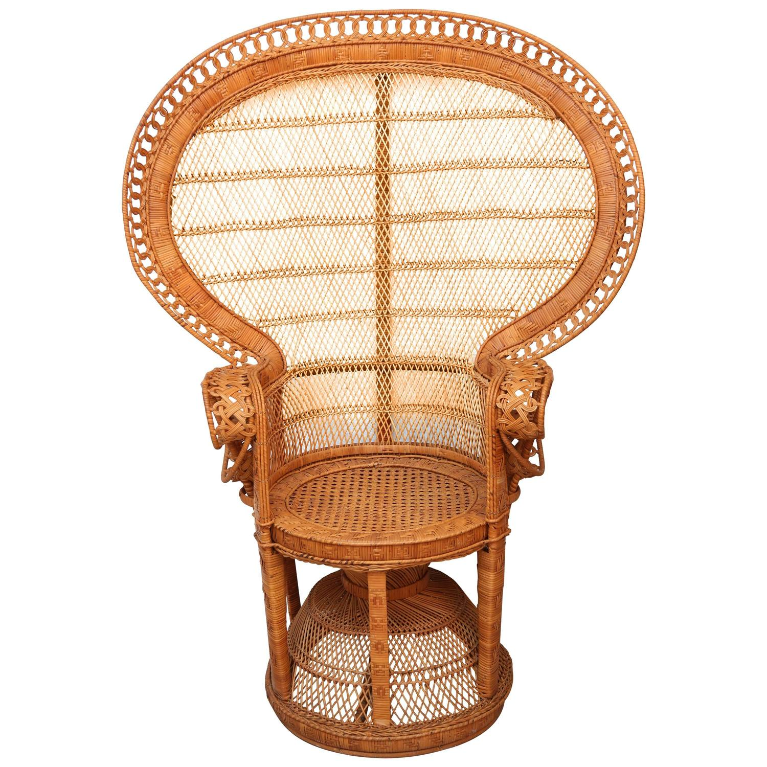 rattan peacock chair yoga ball as desk and willow quotpeacock quot at 1stdibs
