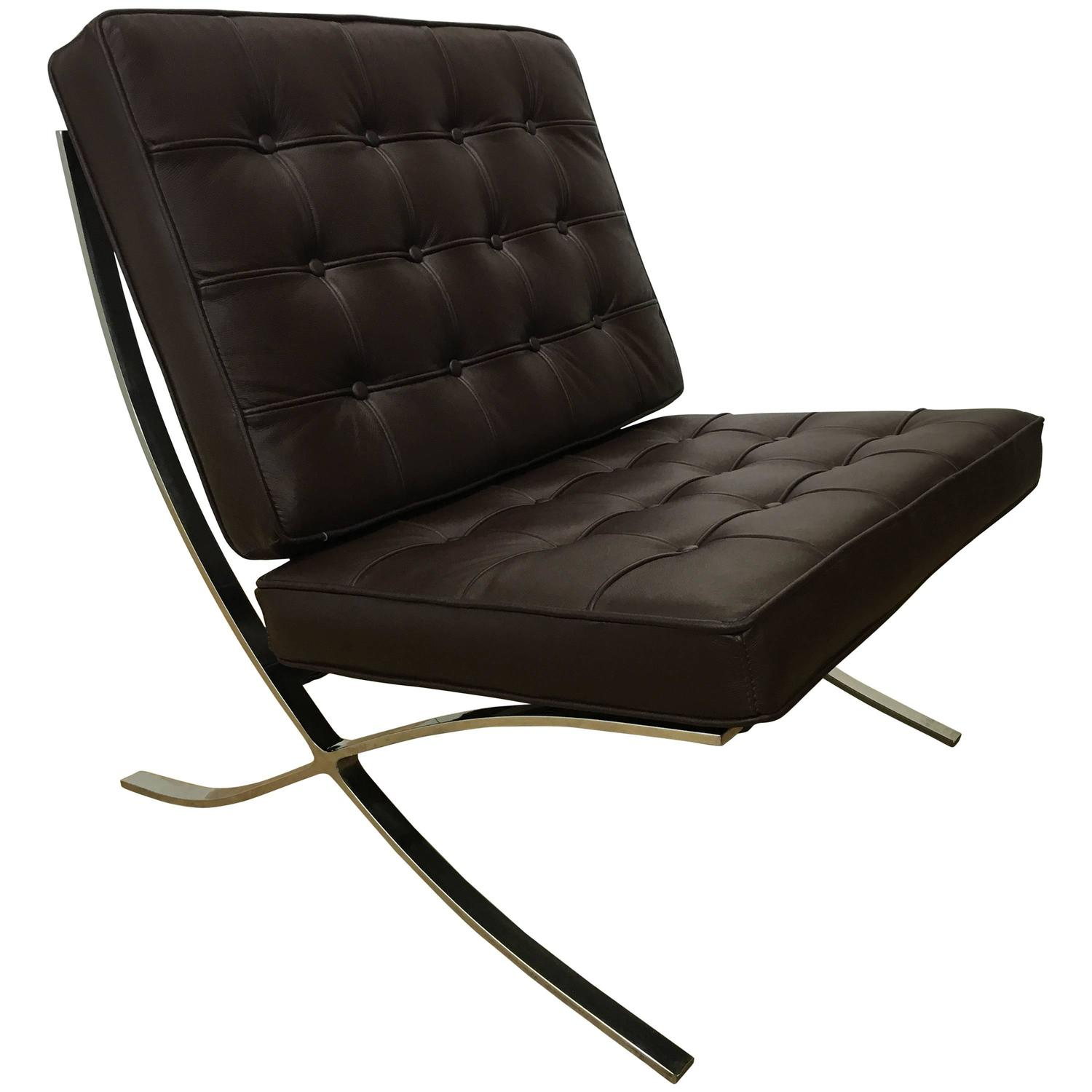 Barcelona Lounge Chair Handsome Brown Leather Barcelona Lounge Chair For Sale At