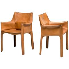 Mario Bellini Chair Striped Cushions Pair Of Saddle Leather Cab Chairs Cassina