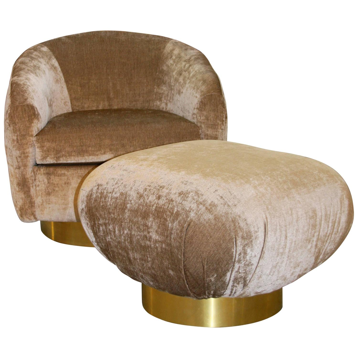 swivel chair online india chairs that convert to beds preview and ottoman with brass banded