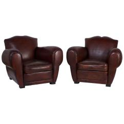 Art Deco Club Chairs Leather Rocking Chair For Sale Pair Of Brown At 1stdibs