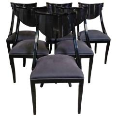 Herman Miller Leather Chair Leg Noise Reduction Set Of Six Pietro Constantini Black Lacquered Klismos Chairs At 1stdibs