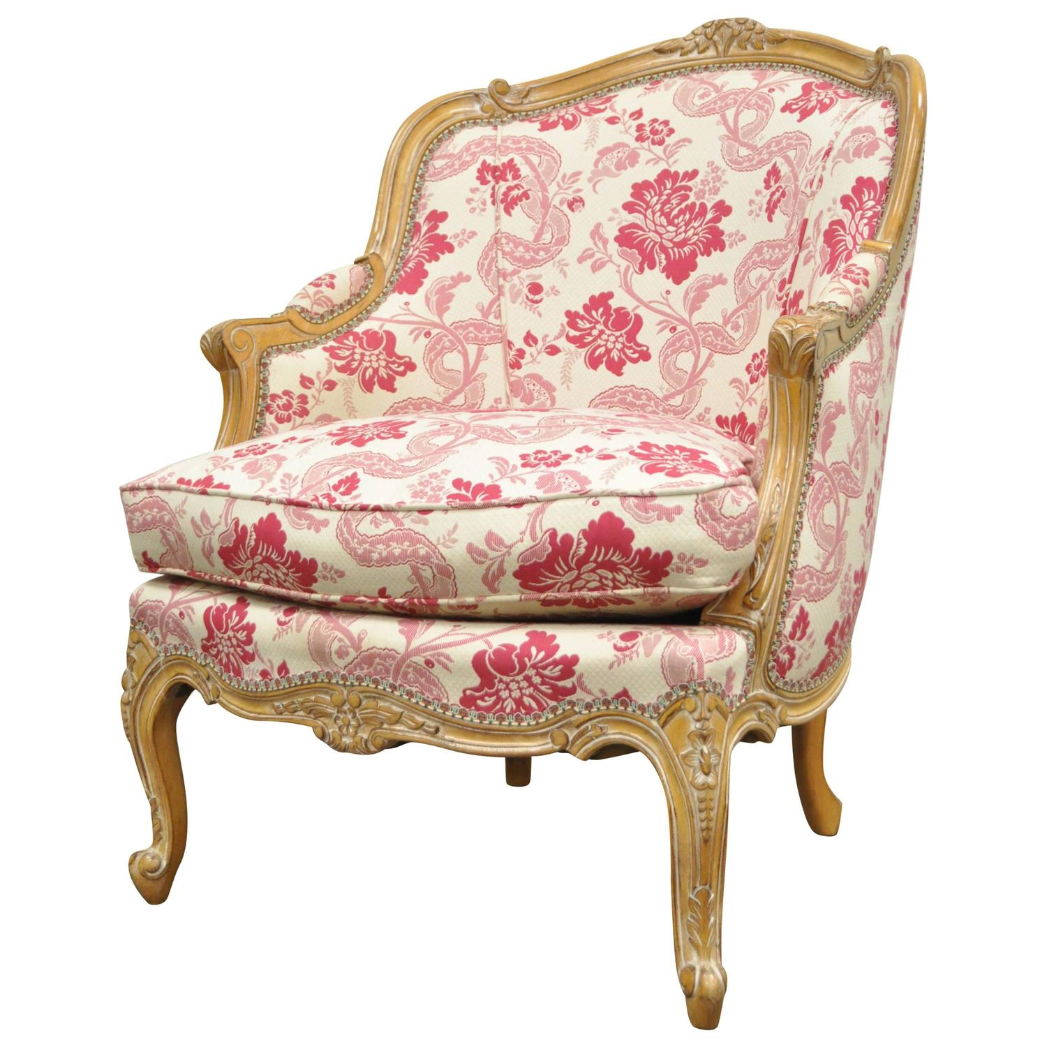 pink arm chair reclining camping with footrest 20th century finely carved french louis xv style bergere lounge armchair for sale at 1stdibs