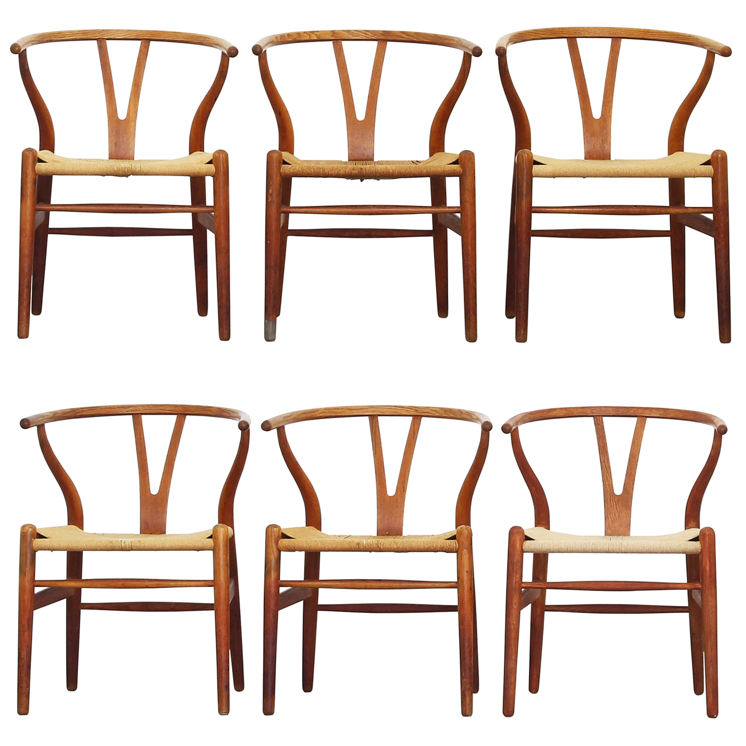 Wishbone Dining Chair Set Of Six Old Dining Wishbone Chairs By Hans J Wegner For Carl Hansen Oak
