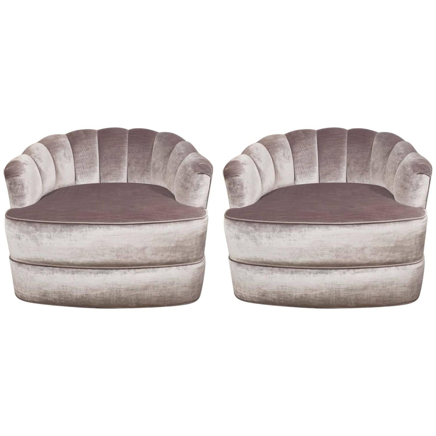 swivel tub chairs andy warhol electric chair pair of 1970s milo baughman channel back