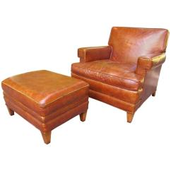 Leather Chair Ottoman Swing Up Chairs 1940s Club With At 1stdibs