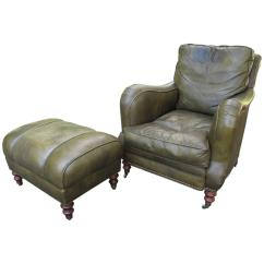 Oversized Leather Chair And Ottoman Chocolate Brown Dining Chairs Club With At 1stdibs