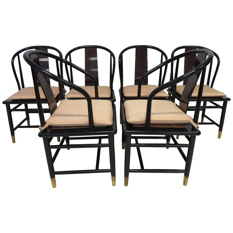 henredon asian dining chairs portable beach hammock chair fabulous set of six scene three style lacquered for sale