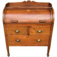 Teak Rolltop Desk with Three Drawers and Slide Out Writing ...