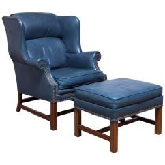 Blue Wing Chair Louis 15 Armchair French Chippendale Mahogany By Schafer