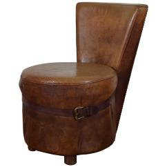 Leather Slipper Chair Chocolate Office At Walmart French Art Deco Upholstered Vanity Or