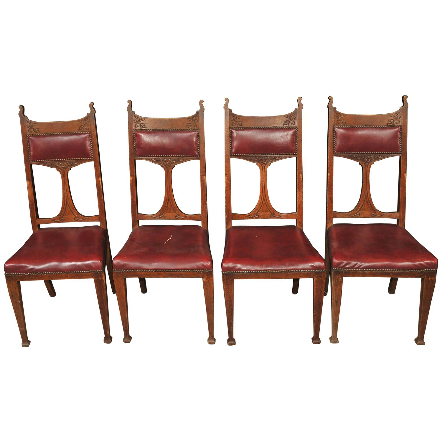 advanced church chairs swing chair penang set four antique art nouveau dining 1890 arts and