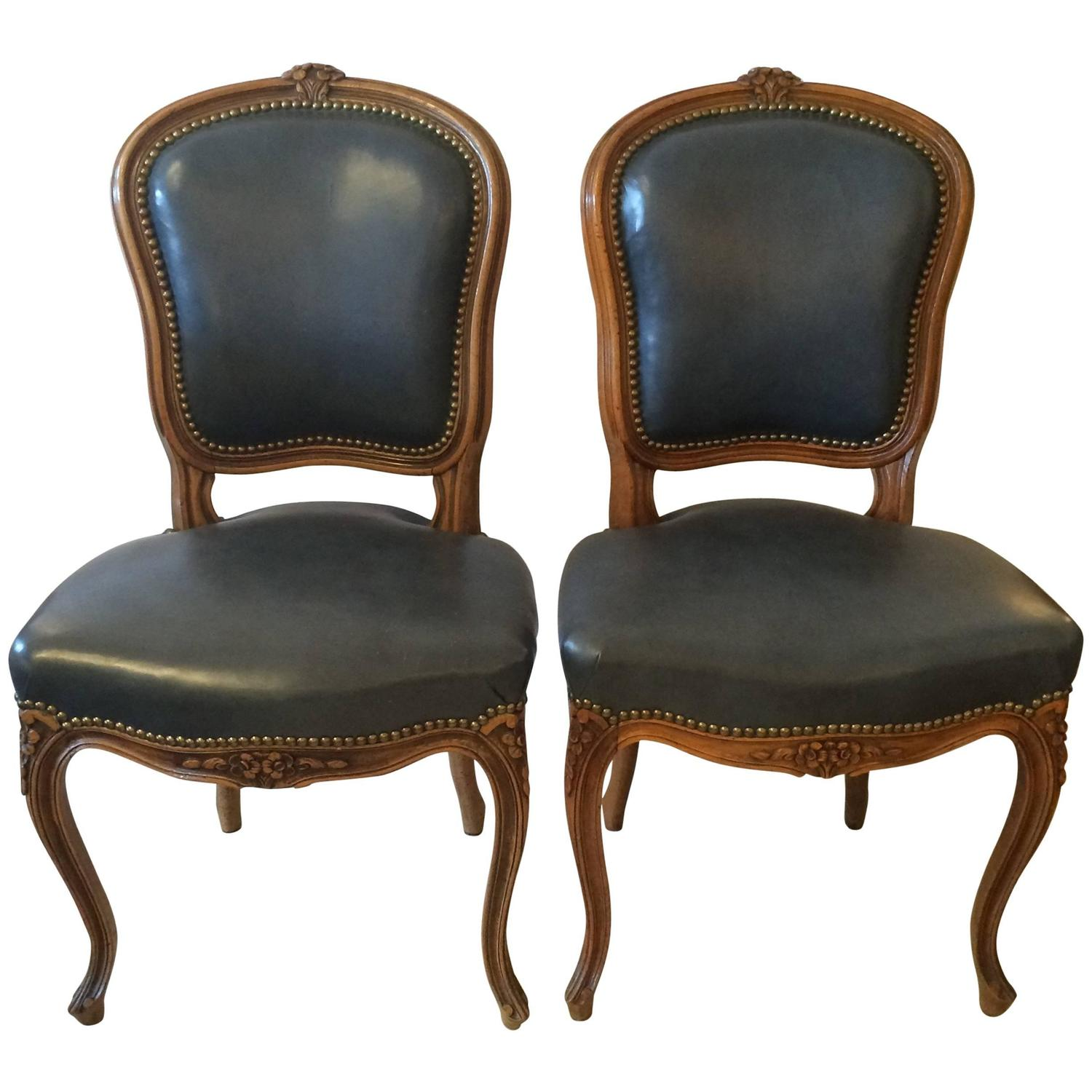 Blue Leather Dining Chairs Pair Of French Slate Blue Leather Side Chairs For Sale At